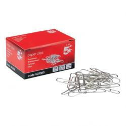 Cheap Stationery Supply of 5 Star Office Paperclips Metal Large Length 33mm Lipped Plain Pack of 10x100 Office Statationery