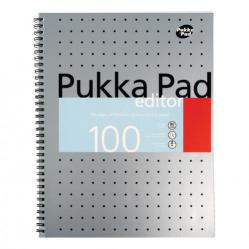 Cheap Stationery Supply of Pukka Pad Metallic Edtr Nbk Wbnd 80gsm Ruled Margin Perf Punch 4 Hole 100pp A4+ Silver EM003 Pack of 3 Office Statationery
