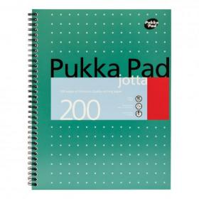 Pukka Pad Mettallic Jotta Nbk Wirebound 80gsm Ruled Margin Perf Punch 4 Hole 200pp A4+ Ref JM018 Pack of 3