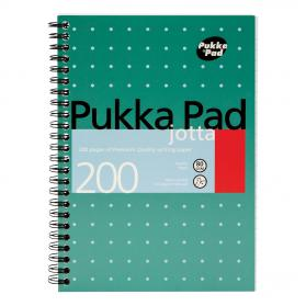 Pukka Pad Metallic Jotta Nbk Wirebound 80gsm Ruled Perforated 200pp A5 Metallic Green Ref JM021 Pack of 3