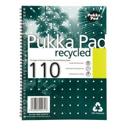 Cheap Stationery Supply of Pukka Pad Recycled Nbk Wbnd 80gsm Ruled Margin Perf Punched 4 Holes 110pp A4+ Green RCA4 Pack of 3 Office Statationery
