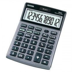 Cheap Stationery Supply of Aurora Semi-desk Calculator 12 Digit 3 Key Memory Battery/Solar Power 103x23x151mm Silver DT661 Office Statationery