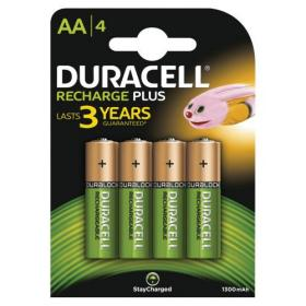 Duracell Battery Rechargeable Accu NiMH 1300mAh AA Ref 81367177 Pack of 4