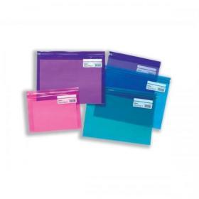 Snopake Zippa Bag Plastic Folder Zip Pull Flexible A4 Assorted Ref 14141 Pack of 25