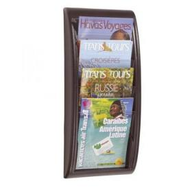 Fast Paper Literature Holder Wall Mount 4 x A4 Pockets Portrait Black Ref 4061.01