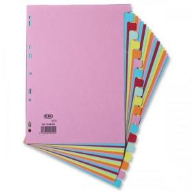 Elba Subject Dividers 20-Part Card Multipunched Recyclable 160gsm A4 Assorted Ref 400007438