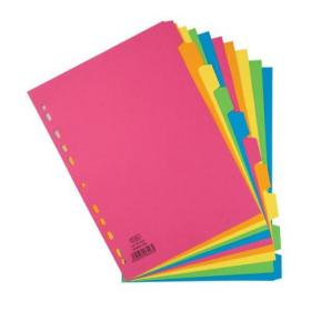 Elba Bright Subject Dividers 5-Part Card Multipunched Recyclable 160gsm A4 Assorted Ref 400008249