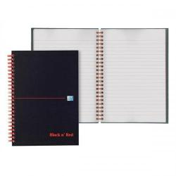 Cheap Stationery Supply of Black n Red Notebook Wirebound 90gsm Ruled and Perforated 140pp A6 Glossy Black 100080448 Pack of 5 Office Statationery