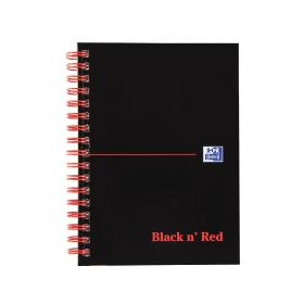Black n Red Notebook Wirebound 90gsm Ruled and Perforated 140pp A6 Glossy Black Ref 100080448 Pack of 5