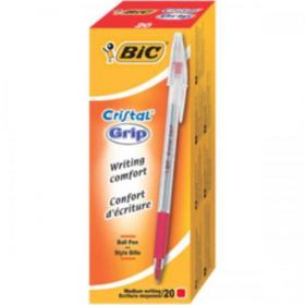Bic Cristal Grip Ball Pen Medium Clear Barrel 1.0mm Tip 0.32mm Line Red Ref 802803 Pack of 20