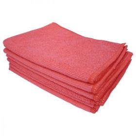 5 Star Facilities Microfibre Cleaning Cloth Colour-coded Multi-surface Red Pack of 6