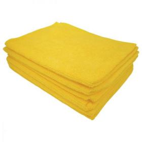 5 Star Facilities Microfibre Cleaning Cloth Colour-coded Multi-surface Yellow Pack of 6