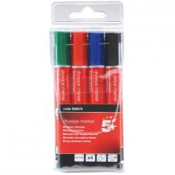 Cheap Stationery Supply of 5 Star Office Drywipe Marker Xylene/Toluene-free Bullet Tip 2mm Line Wallet Assorted Pack of 4 Office Statationery