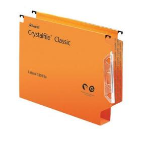 Rexel Crystalfile Extra Lateral File Polypropylene 30mm Wide-base Foolscap Orange Ref 300125 Pack of 25