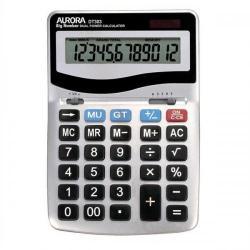 Cheap Stationery Supply of Aurora Desktop Calculator 12 Digit 4 Key Memory Battery/Solar Power 133x35x198mm Silver DT303 Office Statationery