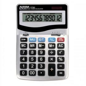 Aurora Desktop Calculator 12 Digit 4 Key Memory Battery/Solar Power 133x35x198mm Silver Ref DT303