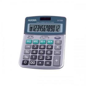 Aurora Semi-desk Calculator 12 Digit 3 Key Memory Battery/Solar Power 103x30x138mm Grey Ref DT398