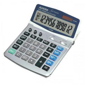 Aurora Desktop Calculator 12 Digit 4 Key Memory Battery/Solar Power 165x32x228mm Grey Ref DT401