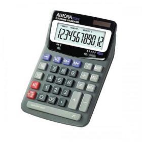 Aurora Desktop Calculator 12 Digit 2x3 Key Memory Battery/Solar Power 140x46x198mm Black Ref DT85V