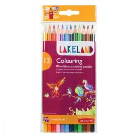 Lakeland Colouring Pencils Round-barrelled Soft Blendable Wallet Assorted Ref 33356 Pack of 12