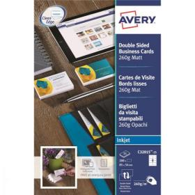 Avery Quick and Clean Business Cards Inkjet 260gsm 8 per Sheet Matt Coated Ref C32015-25 200 Cards