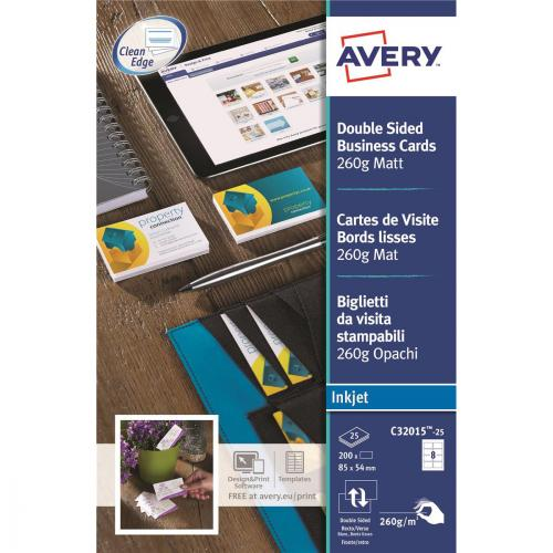 Avery Quick and Clean Business Cards Laser 220gsm 10 per Sheet Satin Colour Ref