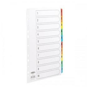 Concord Commercial Index 1-10 Multipunched Mylar-reinforced Multicolour-Tabs 160gsm A4 White Ref 08901