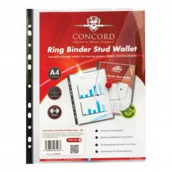 Cheap Stationery Supply of Concord Ring Binder Stud Wallet Polypropylene with Card Pocket 180 Micron A4 Clear 6126-PFL Pack of 5 Office Statationery