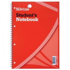 Silvine Student Notebook Wirebound 75gsm Narrow Ruled Punched 4 Holes 120pp A4 Red Ref 141 Pack of 12