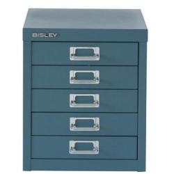 Cheap Stationery Supply of Bisley SoHo (H325mm) Multi-Drawer (5) Steel Filing Cabinet (Doulton Blue) H125NL-74 Office Statationery