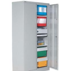 Cheap Stationery Supply of Bisley Two Door Steel Storage Cupboard 914x470x1970-1985mm with 4 Shelves Grey YECB0919/4S Office Statationery