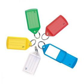 5 Star Facilities Sliding Key Fob Coloured Medium Label Area 38x22mm 25mm Ring Assorted Pack of 50