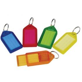 5 Star Facilities Sliding Key Fob Coloured Large Label Area 51x33mm25mm Ring Assorted Pack of 10