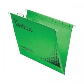 Rexel Crystalfile Flexifile Suspension File 15mm V-base 225gsm Foolscap Green Ref 3000040 Pack of 50
