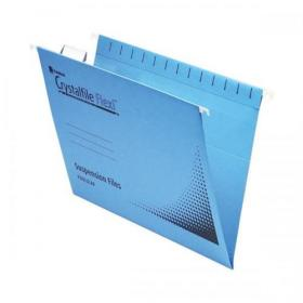 Rexel Crystalfile Flexifile Suspension File 15mm V-base 225gsm Foolscap Blue Ref 3000041 Pack of 50