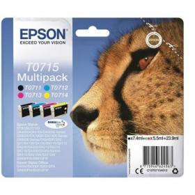 Epson T0715 IJCartCheetah 495pp Blk 7.4ml/495pp Cyan/280pp Mag/480pp Yel 5.5ml Ref C13T07154012 Pack of 4
