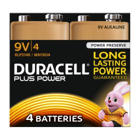Duracell Plus Power Battery Alkaline 9V Ref 81275463 Pack of 4