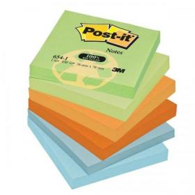 Post-it Notes Recycled 100 Sheets per Pad 76x76mm Pastel Rainbow Ref 6541RP Pack of 12