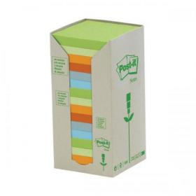 Post-it Notes Pad Recycled Tower Pack 76x76mm Pastel Rainbow Ref 654-1RPT Pack of 16