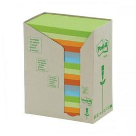 Post-it Notes Pad Recycled Tower Pack 76x127mm Pastel Rainbow Ref 655-1RPT Pack of 16