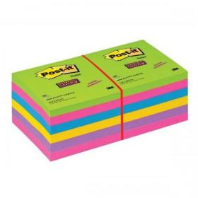 Post-it Super Sticky Removable Notes Pad 90 Sheets 76x76mm Ultra Assorted Ref 654SSUC Pack of 12