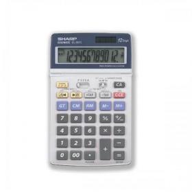 Sharp Desktop Calculator 12 Digit 4 Key Memory Battery/Solar Power 108x22x175mm Grey Ref EL337C