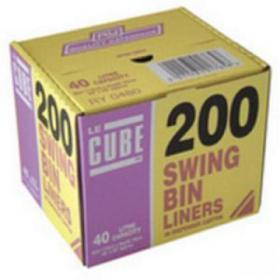Le Cube Swing Bin Liners in Dispenser Box 46 Litre Capacity 1140x570mm Black Ref 480 Pack of 200