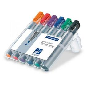 Staedtler Lumocolor Flipchart Markers Dry-safe Bullet Tip 2mm Wallet Asstd Colours Ref 356WP6 Pack of 6