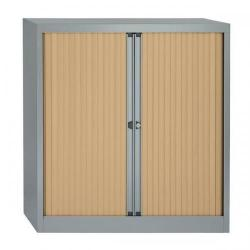 Cheap Stationery Supply of Bisley A4 EuroTambour Et410/10 (1030mm) Low Cupboard with 2 Shelves (Silver Frame with Maple Shutters) ET410/10.MP arn Office Statationery