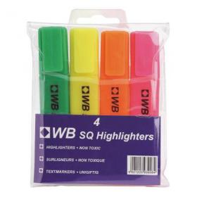 5 Star Value Highlighters Assorted Pack of 4