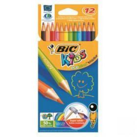 Bic Kids Evolution Colouring Pencils Wood-free Resin Wallet Vibrant Assorted Colours Ref 829029 Pack of 12