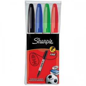 Sharpie Permanent Marker Fine Tip 0.9mm Assorted Ref S0810970 Pack of 4