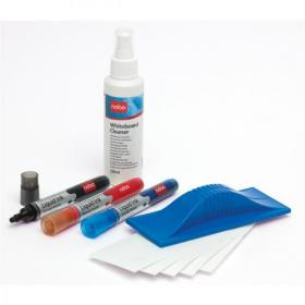 Nobo Whiteboard Starter Kit 3 Asst Drywipe Markers/Eraser/Refills/125ml Cleaning Fluid Spray Ref 34438861
