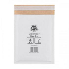 Jiffy Mailmiser Protective Envelopes Bubble-lined Size 0 P&S 140x195mm White Ref JMM-WH-0 Pack of 100